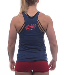 thigh-life-womens-crossfit-tank-tri-indigo-dye-red-and-white-lettering-back-by-rokfit