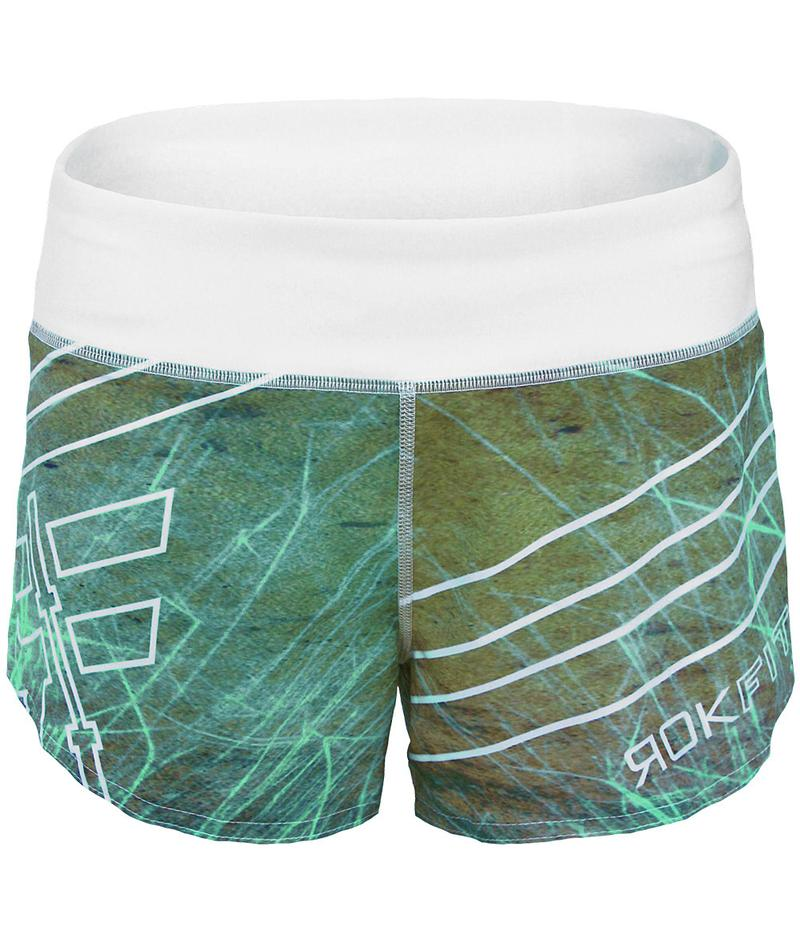 europa-performance-crossfit-booty-shorts-white-turquoise-blue-green-tan-marbled-design-front-by-rokfit