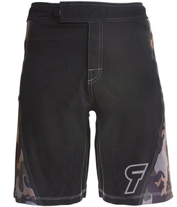 elite-performance-2-0-mens-crossfit-shorts-black-camo-tan-logo-front-by-rokfit