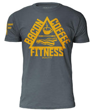the-trifecta-bacon-coffee-fitness-indigo-mens-crossfit-shirt-front-by-rokfit