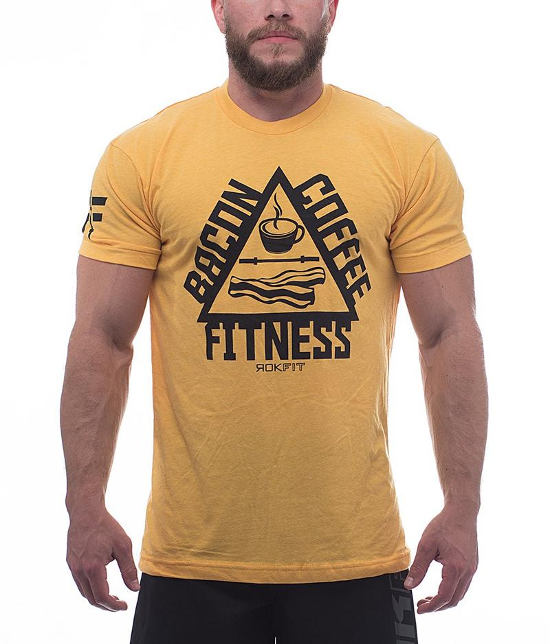 the-trifecta-bacon-coffee-fitness-heather-gold-mens-crossfit-shirt-front-by-rokfit