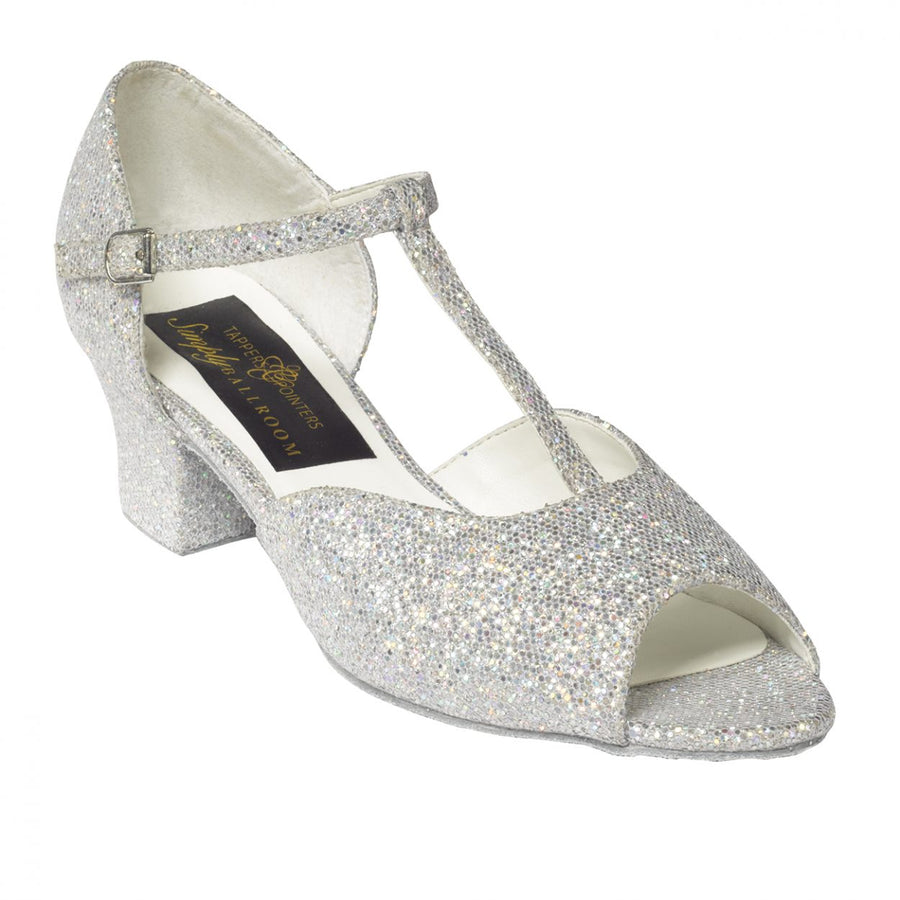 Silver Hologram T-Bar Ballroom Shoe with a Cuban Heel