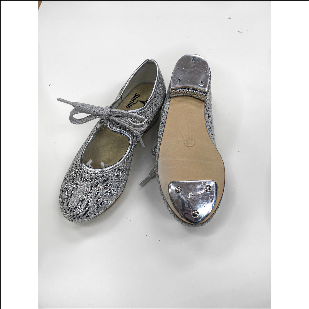 Special Offer - Glitter Tap Shoes-Tap Shoes-Starlite-7c-Silver Glitter-That's Entertainment Dancewear