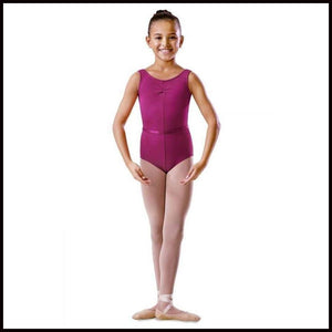 Childs Rouche Front Tank Leotard-Regulation Wear-Bloch-Mulberry-1-That's Entertainment Dancewear
