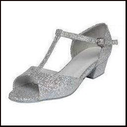 Children's Silver Hologram T-Bar Ballroom Shoe with a Low Heel-Ballroom & Latin-Tappers & Pointers-That's Entertainment Dancewear