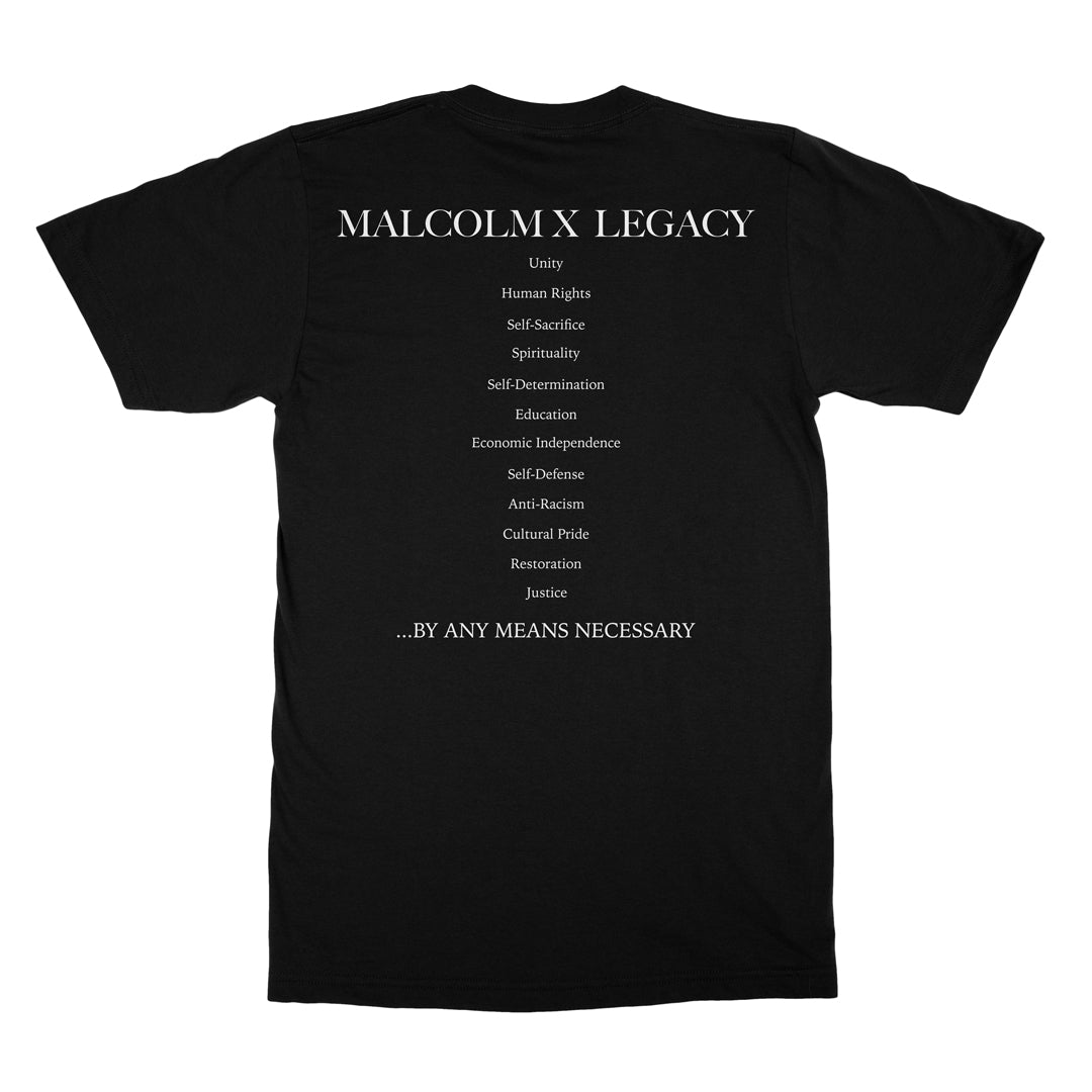 legacy color tee in black malcolm x legacy