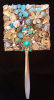 Turquoise and Gold hand mirror