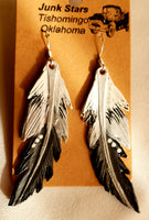 Lynne Style Leather feather earrings