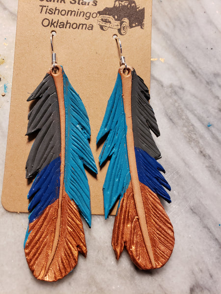 Gypsy leather feather earrings