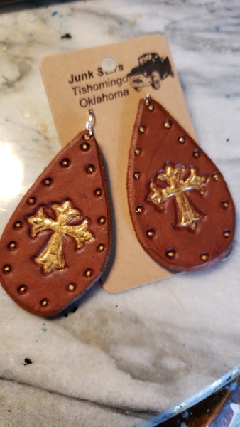Gold Cross leather teardrop earrings