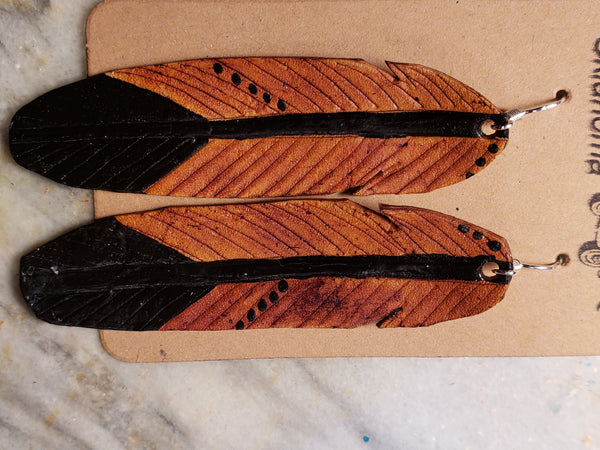 Old school leather feather earrings