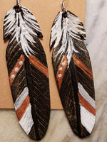 Black copper leather feather earrings