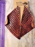Fish scale leather earrings