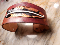 Bronze leather feather Cuff