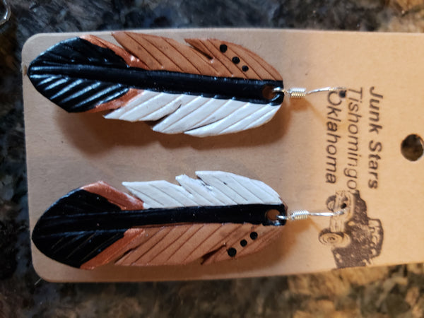 Native Leather Feather Earrings