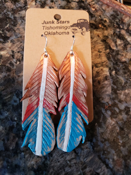 Patriot leather feather earrings