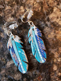 Clip On Leather Feather Earrings