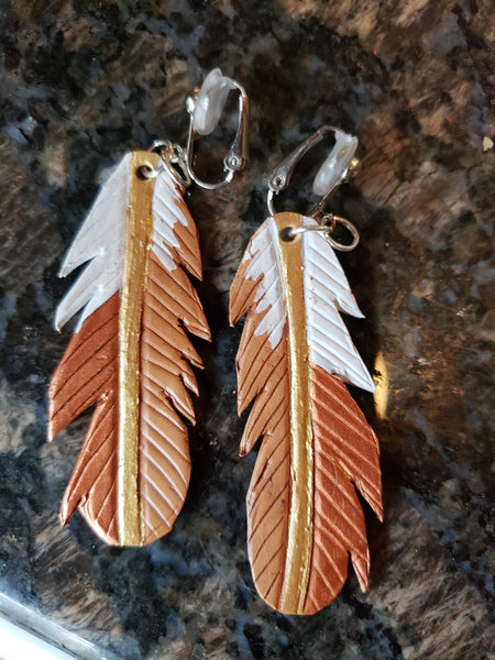 Valerie Style Leather Feather Earrings