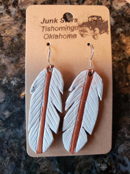 Dove leather feather earrings