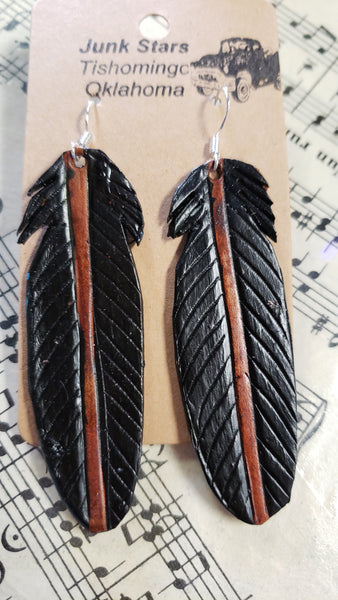 Raven leather feather earrings