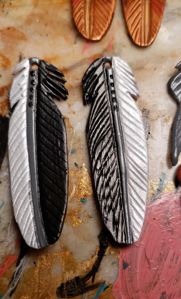 Cathy Style Leather Feather Earrings