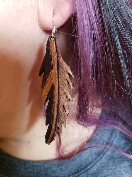 Sherrie Style Leather Feather Earrings