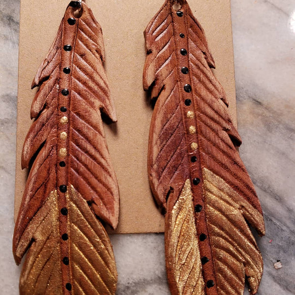 Shayla Style Leather Feather Earrings