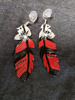Endy style Leather feather earrings