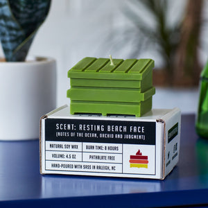 lime resting beach face dumpster fire candle