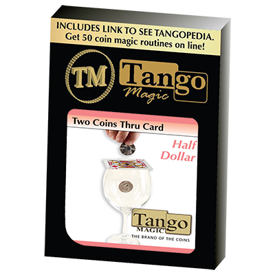Two Coins Thru Card (D0018) (Half Dollar) by Tango - Trick