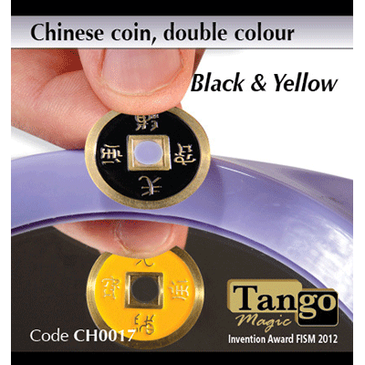 Chinese Coin (CH0017) Black & Yellow by Tango Magic - Tricks