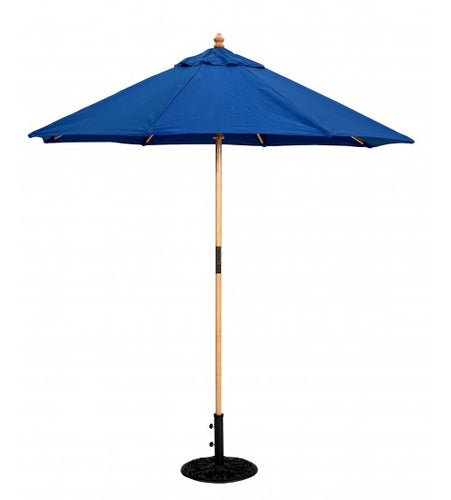 Galtech 121/221 - 7.5 FT Round Wood Cafe Market Umbrella Blue