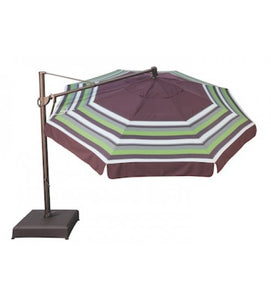 Multi Color 13' Octagon Cantilever Umbrella  O'bravia Fabric Top View