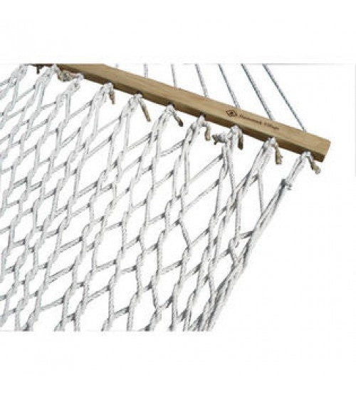 Single White Polyester Rope Hammock- Bright white