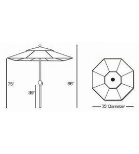 Galtech 727 - 7.5 FT Deluxe Auto Tilt Patio Umbrella Sketch