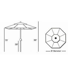 9 FT Deluxe Auto Tilt Patio Umbrella Sketch