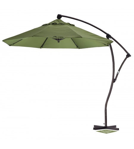 9' Round Offset Patio Green Umbrella - Sunbrella