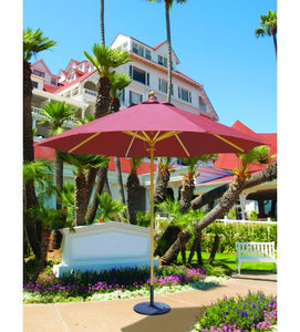 Galtech 131 - Crimson Dupione color 9 FT Wood Market Umbrella