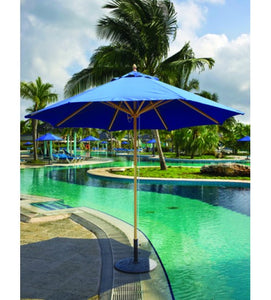 Galtech Blue 9 FT Wood Market Umbrella With Pulley Lift