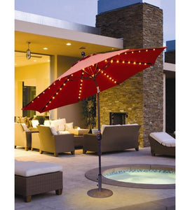 Galtech 936 - Orange 9 FT Auto Tilt Patio Umbrella W/ L.E.D. Lights