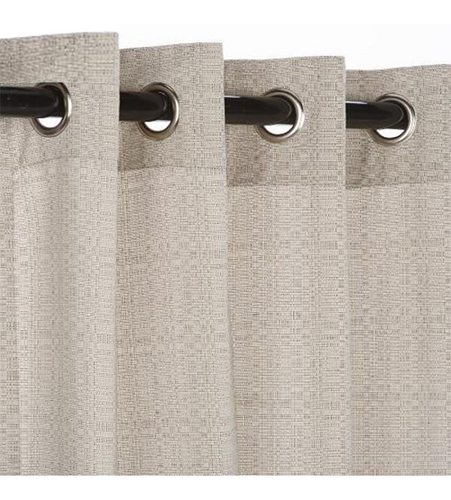 Sunbrella Outdoor Curtain With Nickel Grommets - Linen Silver