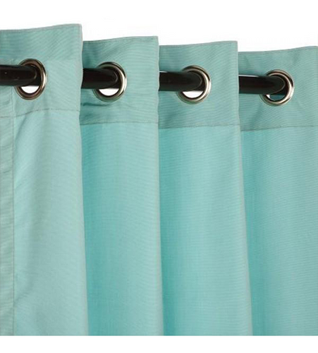 Sunbrella Outdoor Curtain With Nickel Grommets - Canvas Glacier