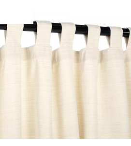 Sunbrella Outdoor Curtain With Tabs - Dupione Pearl