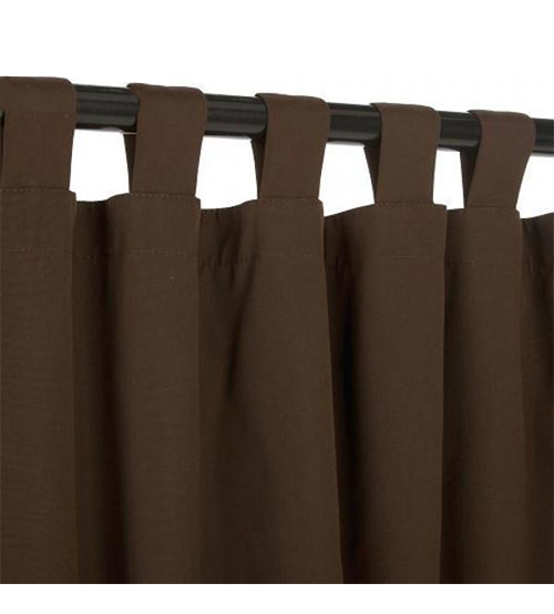 Sunbrella Outdoor Curtain With Tabs - Bay Brown