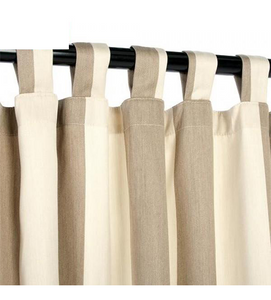Sunbrella Outdoor Curtain With Tabs - Regency Sand (Stripe)