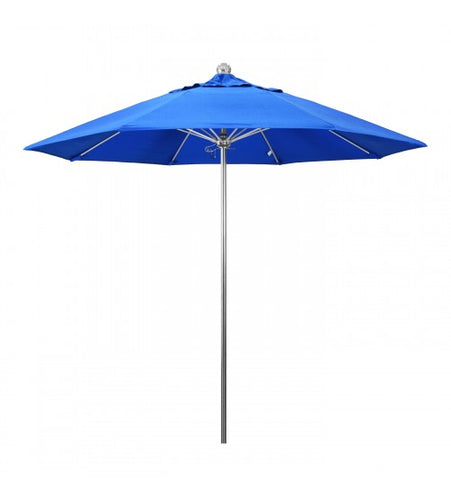 Allure Series 9' Octagon Fiberglass Ribs With Stainless Steel Pole Blue Umbrella