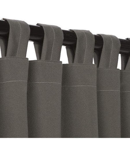 Sunbrella Outdoor Curtain With Tabs - Charcoal