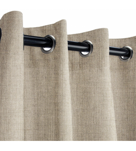 Sunbrella Outdoor Curtain with Nickel Grommets - Cast Ash