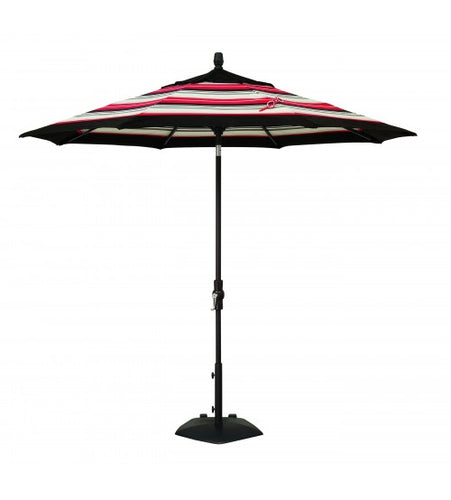 9' Collar Tilt Octagon Commercial Umbrella With White, red, Black Combination
