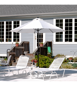 9 FT Commercial Market White Umbrella With Crank, No Tilt